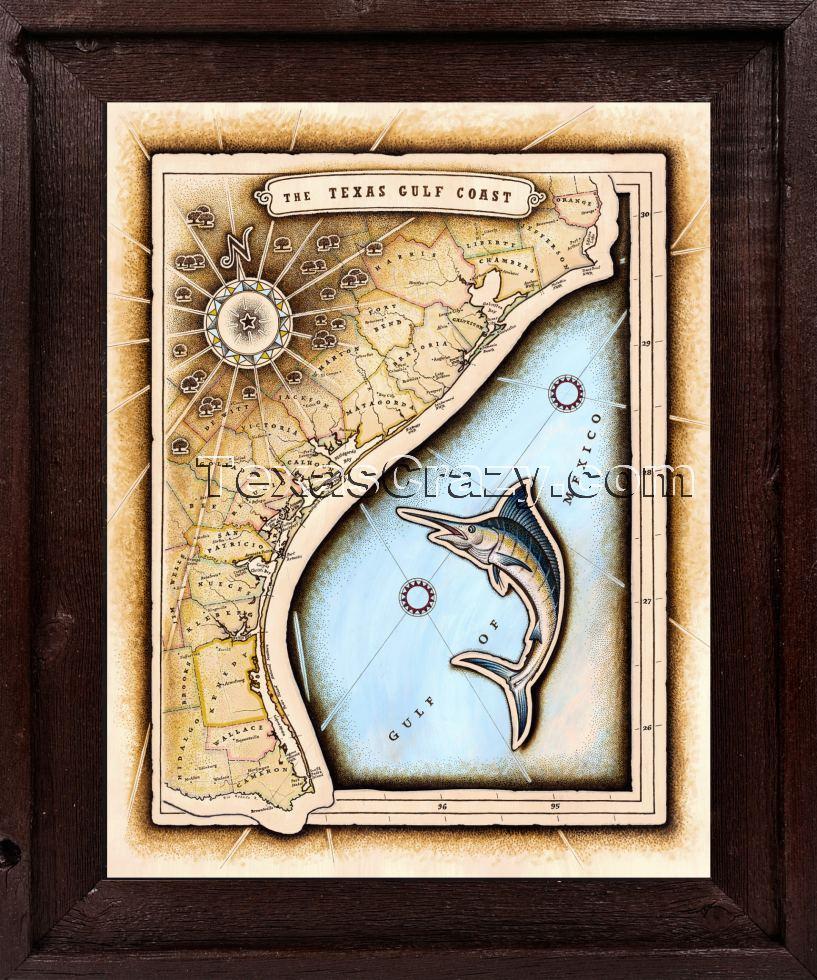 Shop Tx Gulf Coast Map Framed Texas Decor - Framed Texas Map
