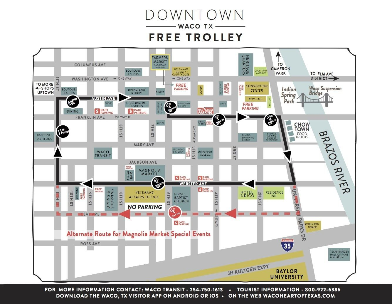 Silo District Trolley   Magnolia - Map Of Waco Texas And Surrounding Area