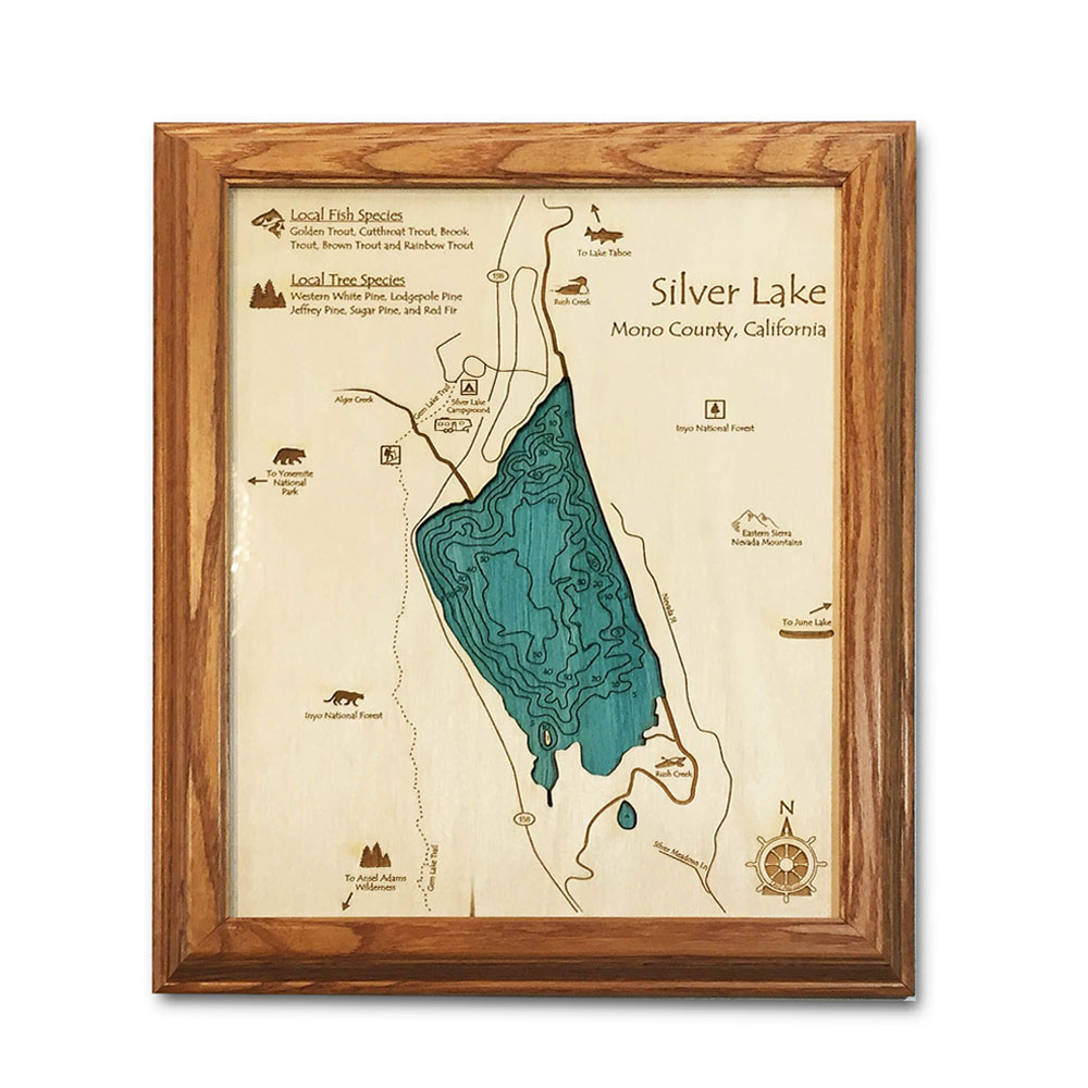 "Silver Lake, Ca Single-Depth Nautical Wood Chart, 8"" X 10"" - Silver Lake California Map"
