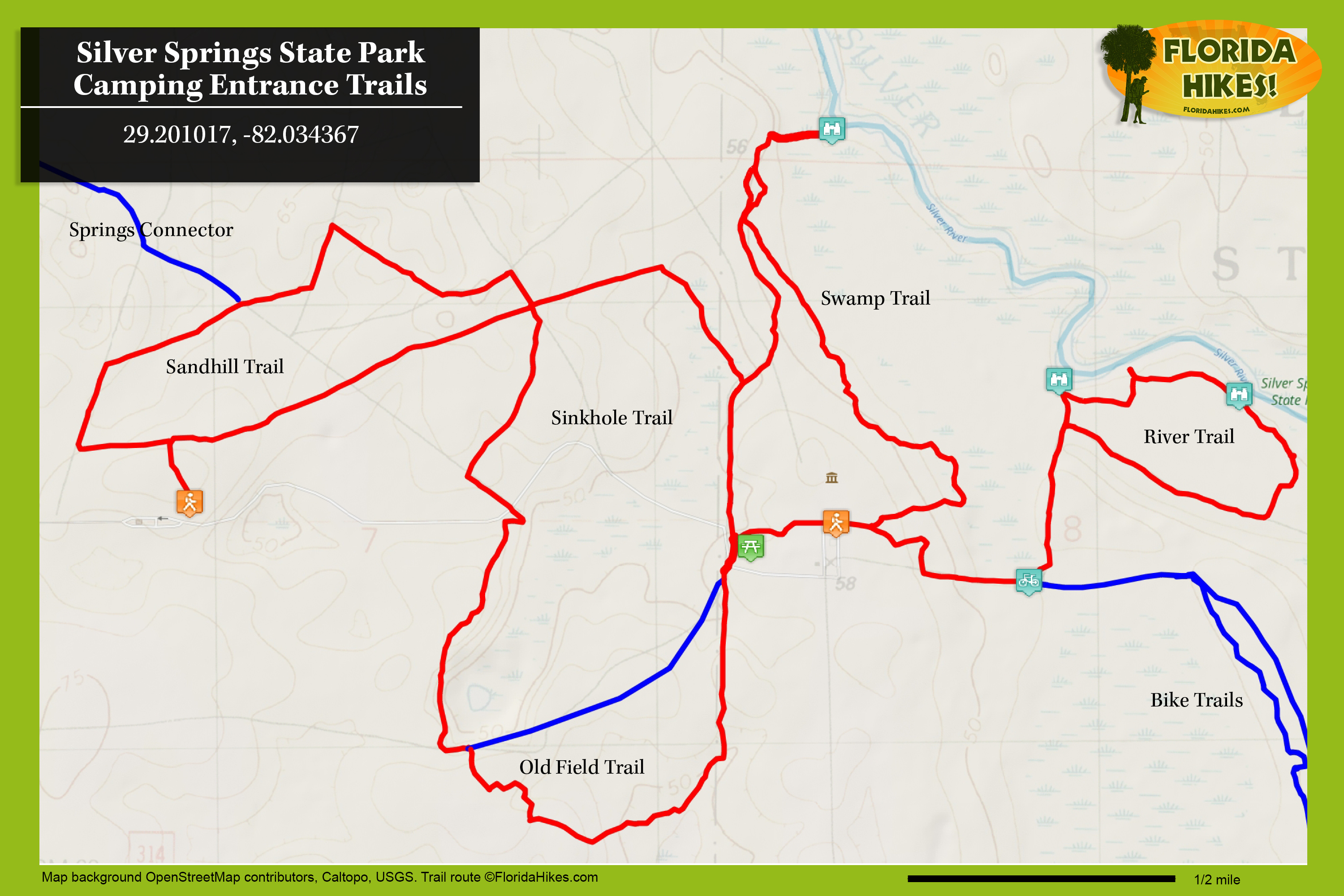 Silver Springs River Trails | Florida Hikes! - Silver River Florida Map
