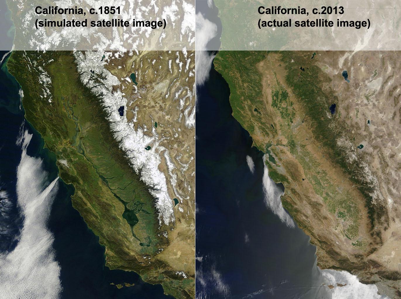 Simulated Satellite Image Of California Circa 1851 Vs Image From - California Map Satellite