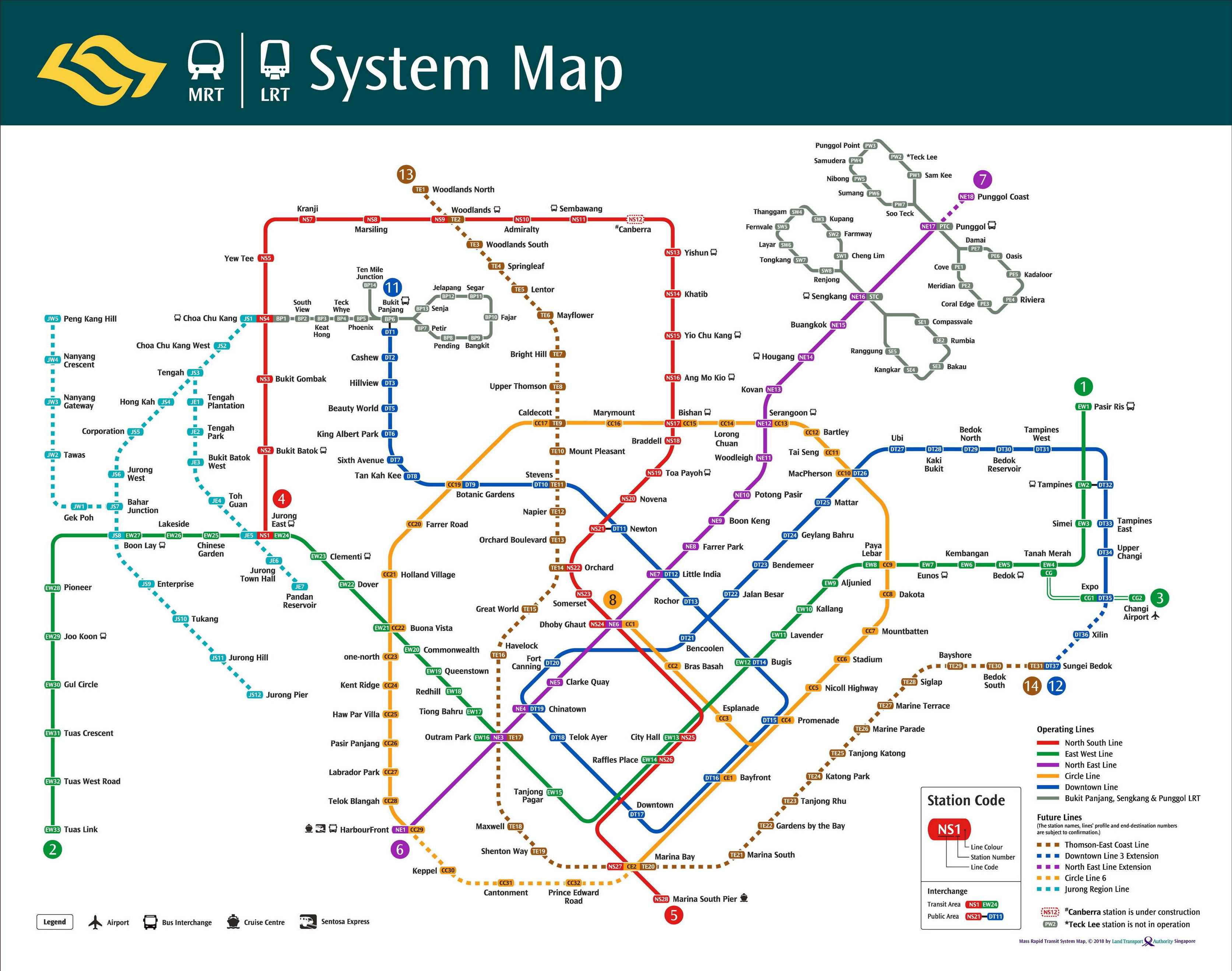Singapore Mrt Map | Land Transport Guru - Singapore Mrt Map Printable