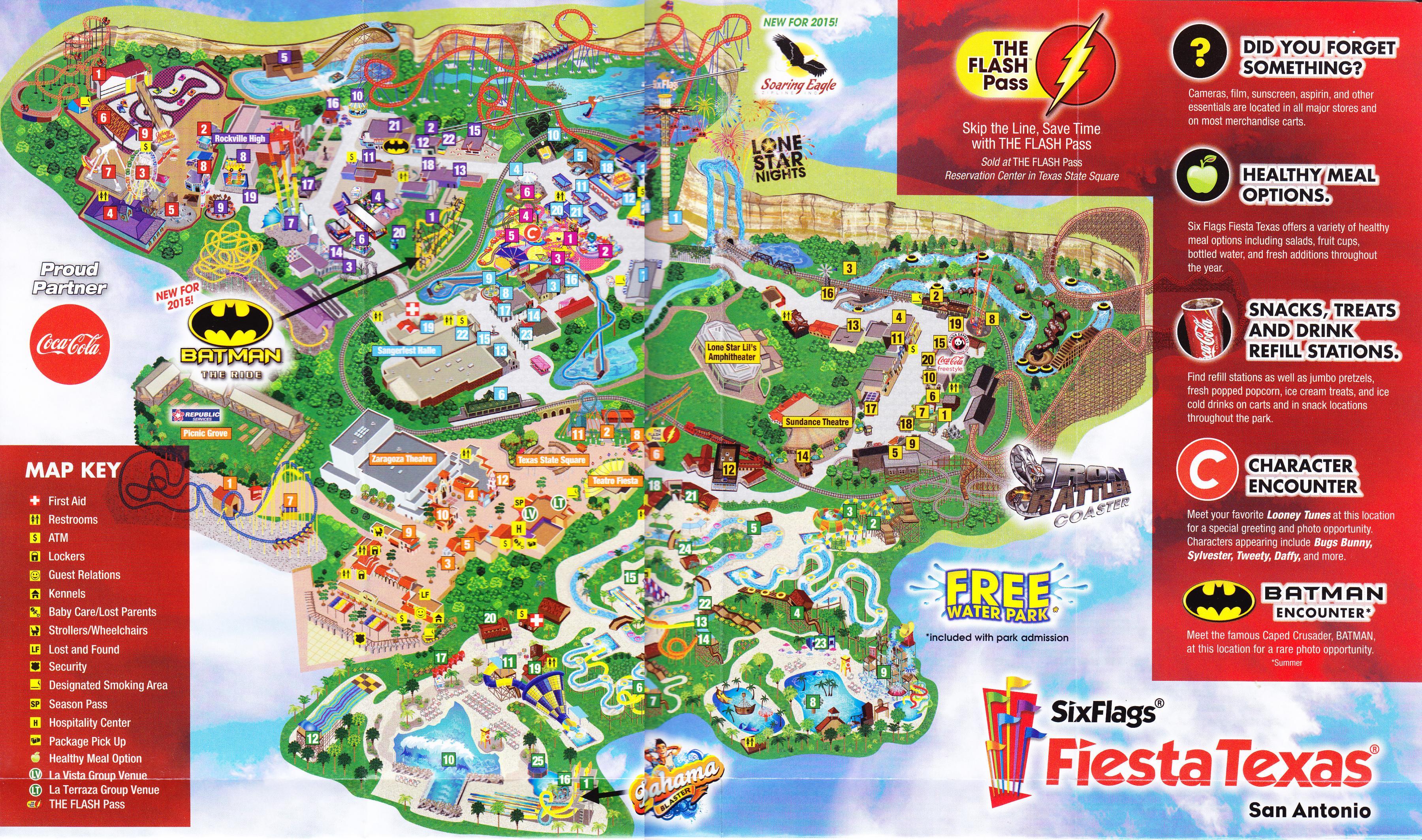 Six Flags Fiesta Texas Carte - Six Flags De San Antonio De La Carte - Fiesta Texas Map