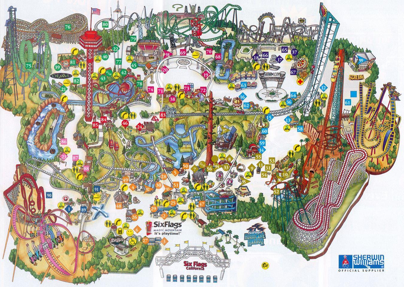 Six Flags Magic Mountain Map. | Assorted Ii In 2019 | Pinterest - Six Flags Map California 2018