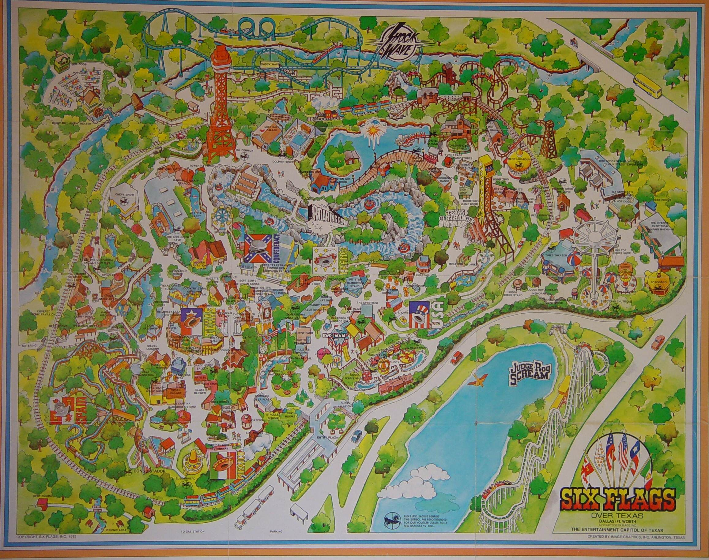 Six Flags Over Texas 1983 | A Demarcation Of Delineated Spatial - Six Flags Over Texas Map App