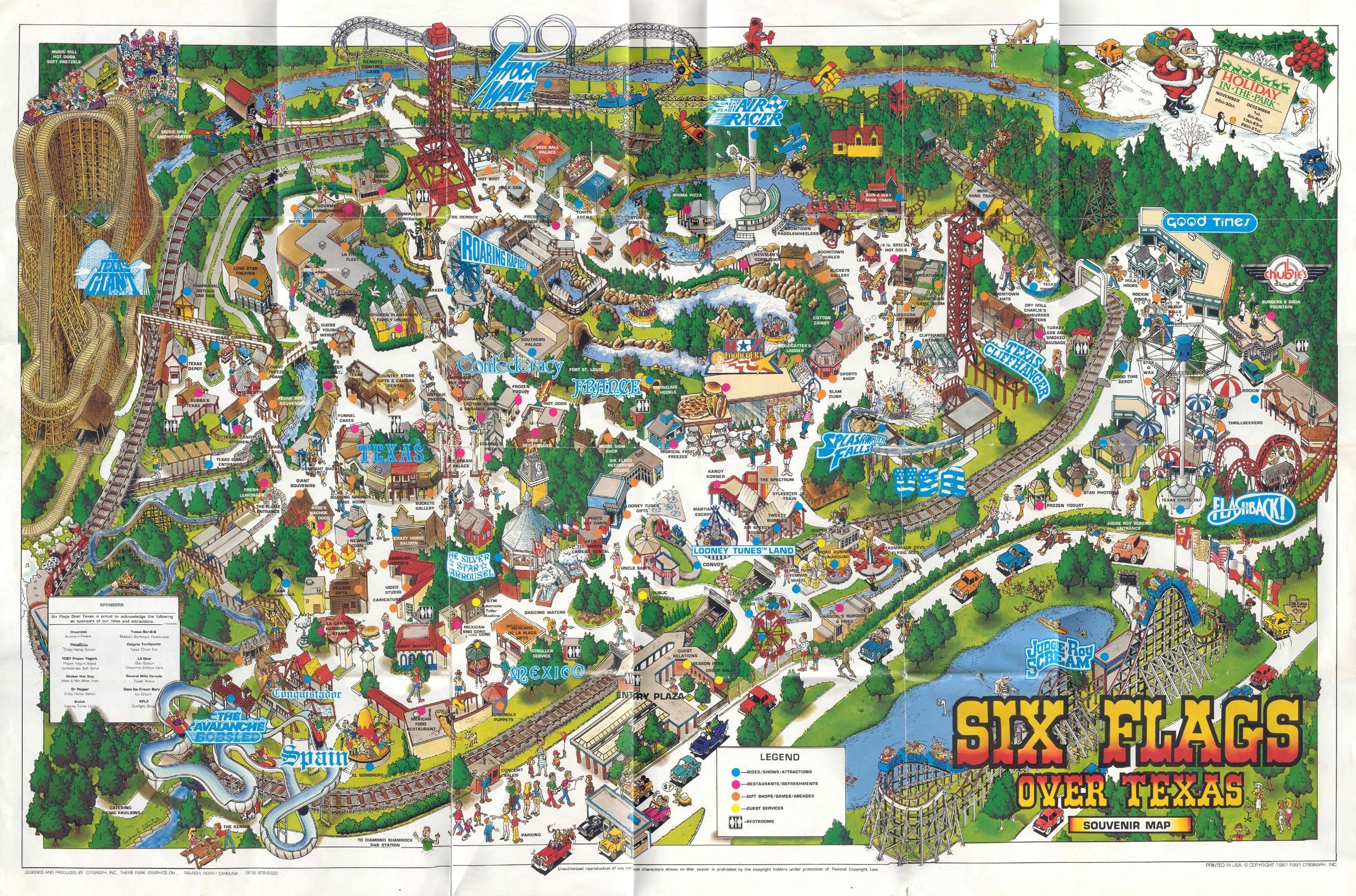 Six Flags Over Texas Map 1991 18 Six Flags Over Texas Map - Six Flags Over Texas Map App