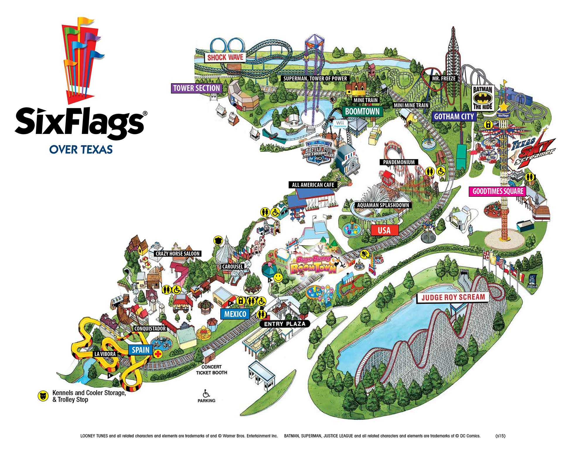 Six Flags Over Texas Map | Sitedesignco - Six Flags Over Texas Map