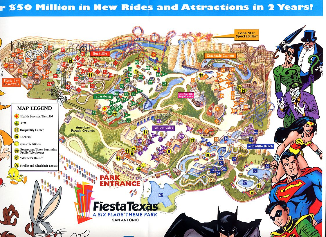 Six Flags St Louis Map And Travel Information | Download Free Six - Fiesta Texas Map