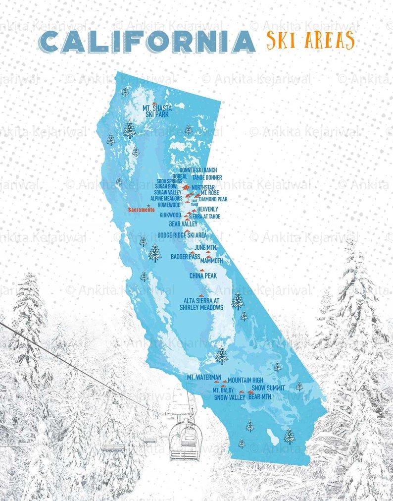 Ski Map Resorts Map For Skiers California Ski Map Gift For | Etsy - California Ski Resorts Map