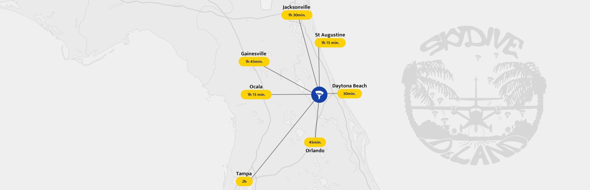 Skydive Deland | Skydiving Orlando & Daytona Beach, Fl - Deland Florida Map