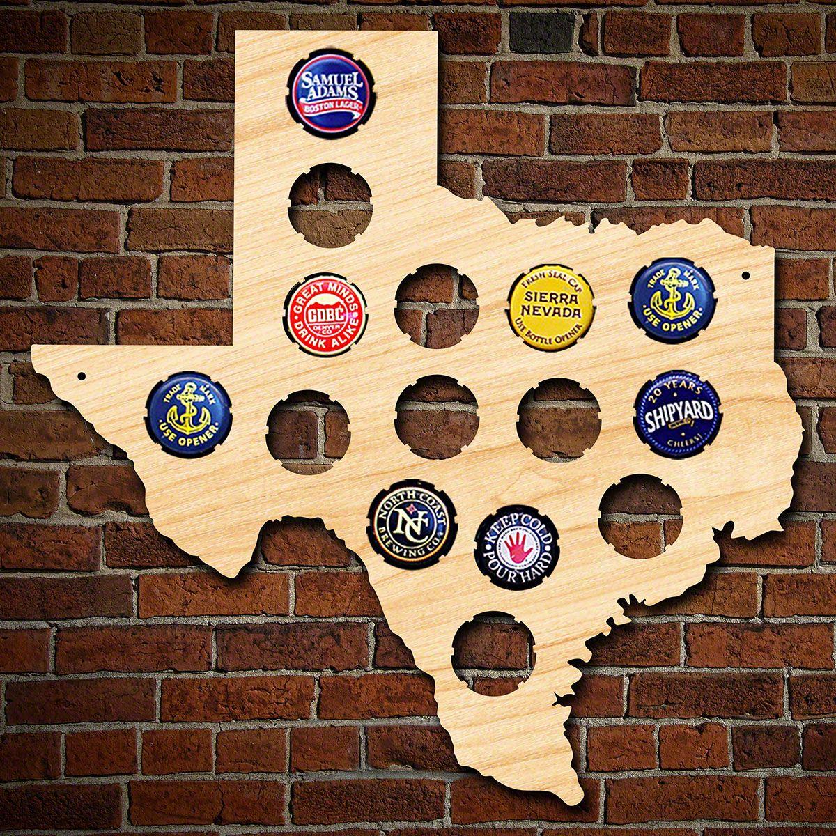 Small Texas Bottle Cap Holder - Texas Beer Cap Map