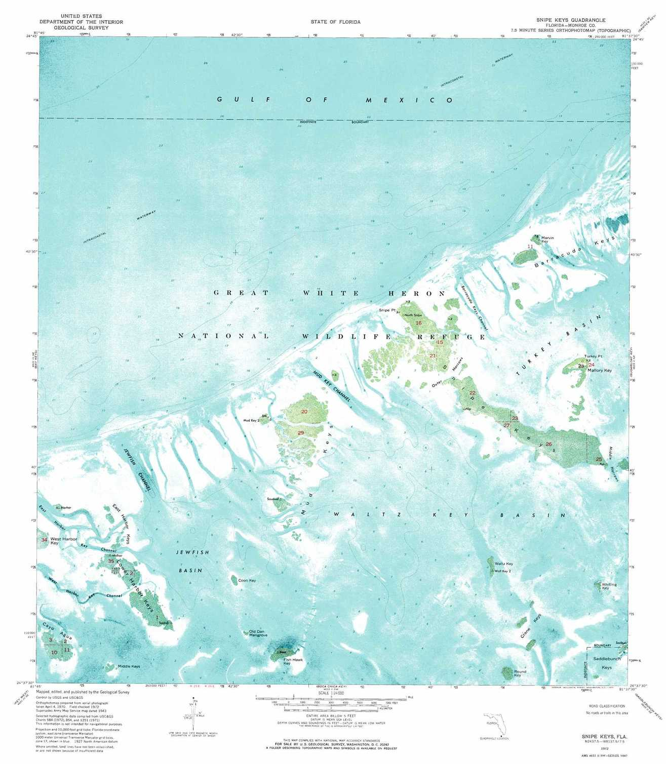 Snipe Keys Topographic Map, Fl - Usgs Topo Quad 24081F6 - Florida Keys Topographic Map