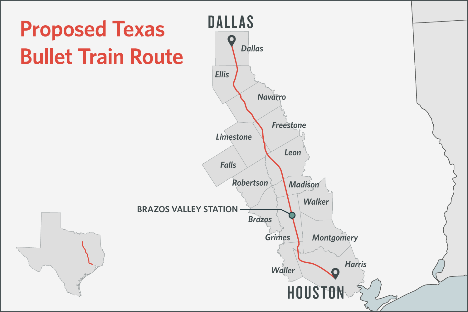 Some Texans Dodge Bullet Train, Others Are Square In Its Path | The - High Speed Rail Texas Route Map