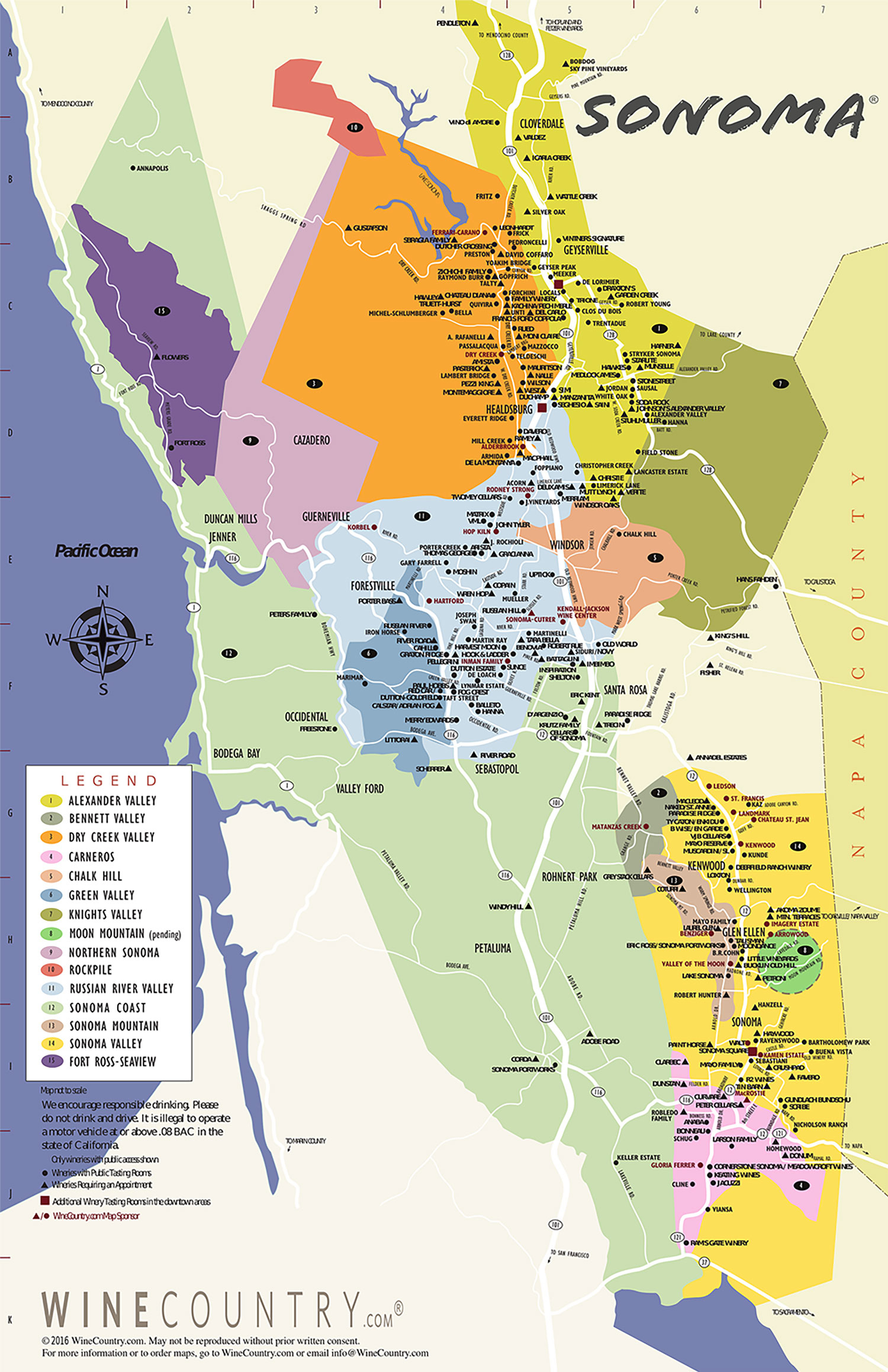 Sonoma County Wine Country Maps - Sonoma - California Vineyards Map