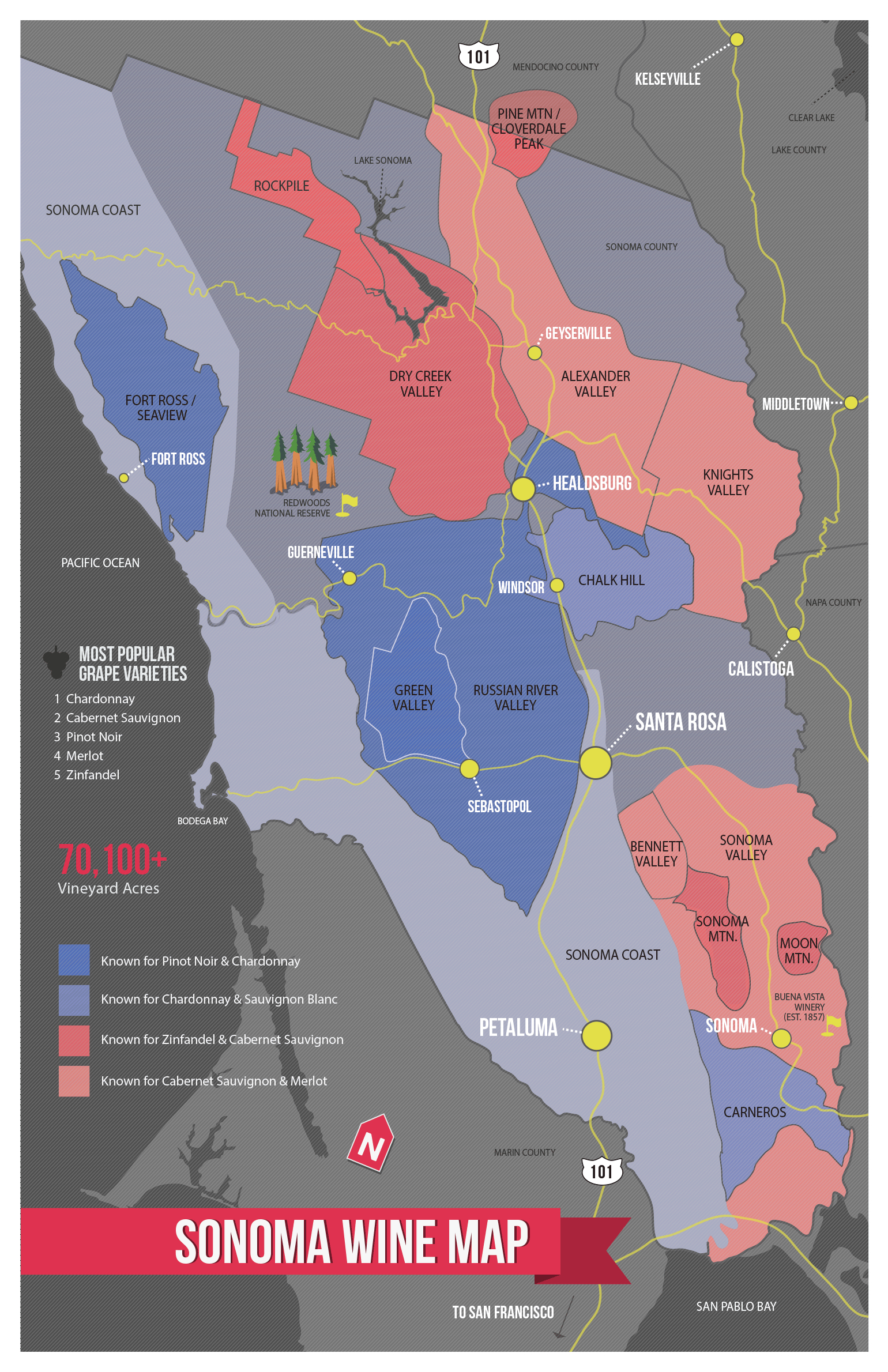 Sonoma Wine Map (Poster | Cheese & Wine | Sonoma Wine Country, Wine - California Wine Map Poster