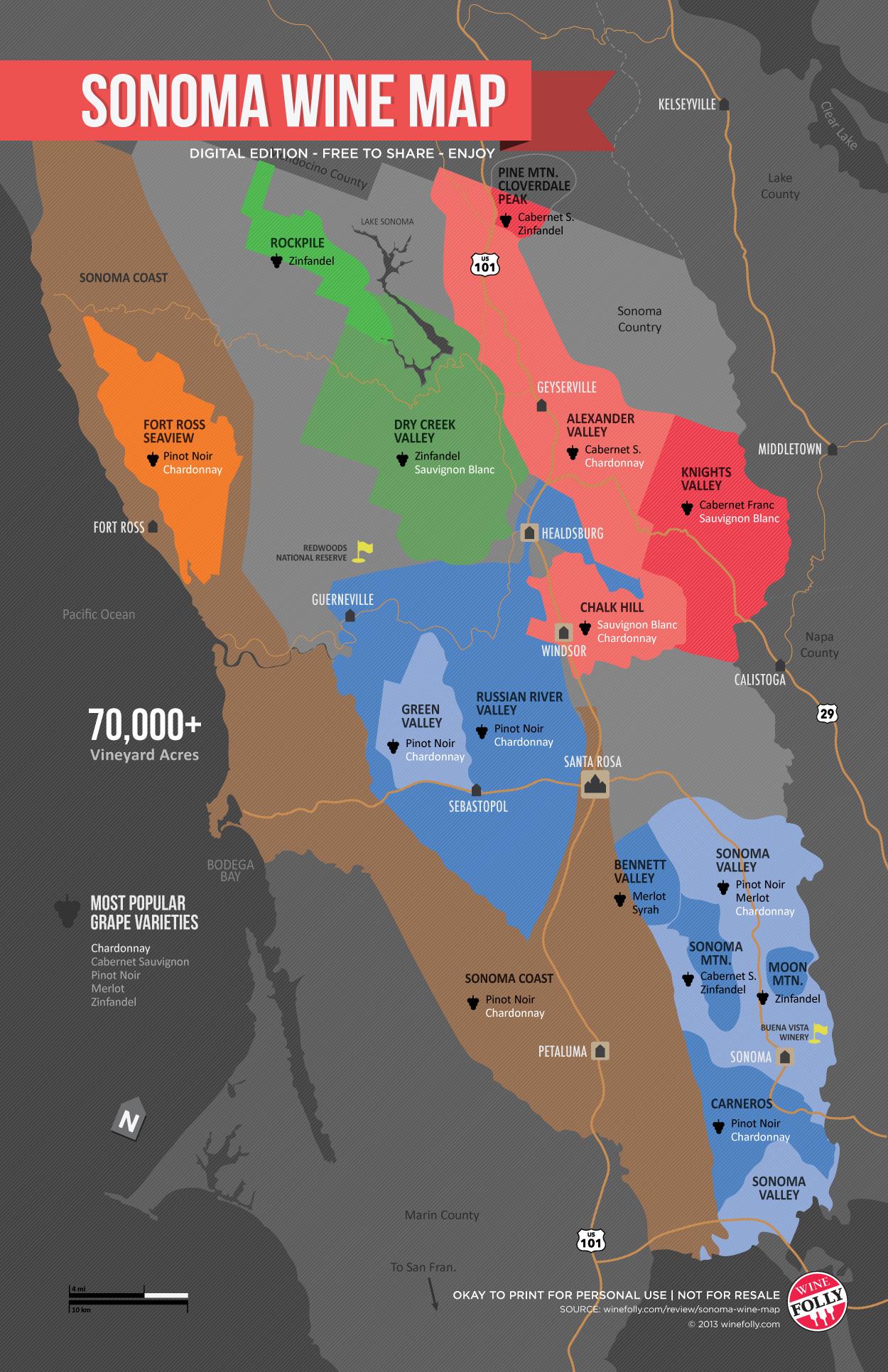 Sonoma Wine Map (Poster)   Wine Folly - Map Of Sonoma California Area