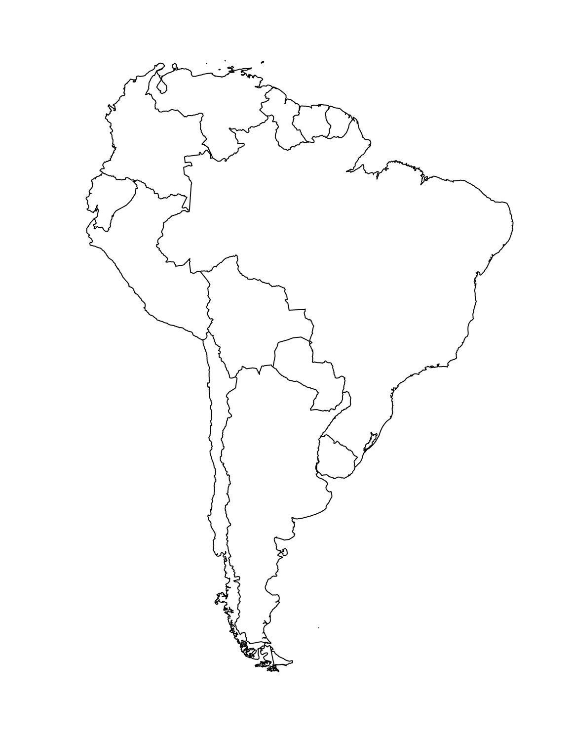 South America Map Outline Printable Map South America Labeled With - Blank Map Of Latin America Printable