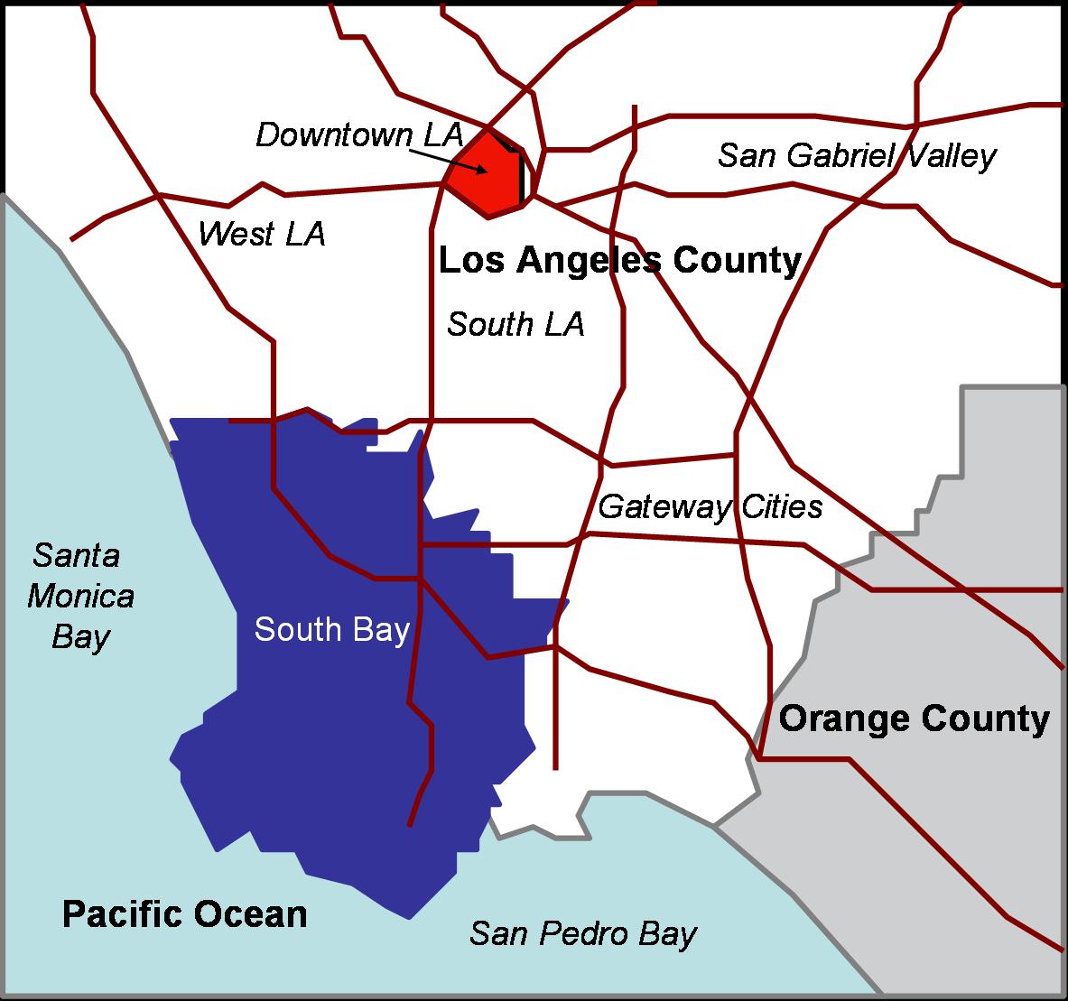 South Bay, Los Angeles - Wikipedia - Redondo Beach California Map
