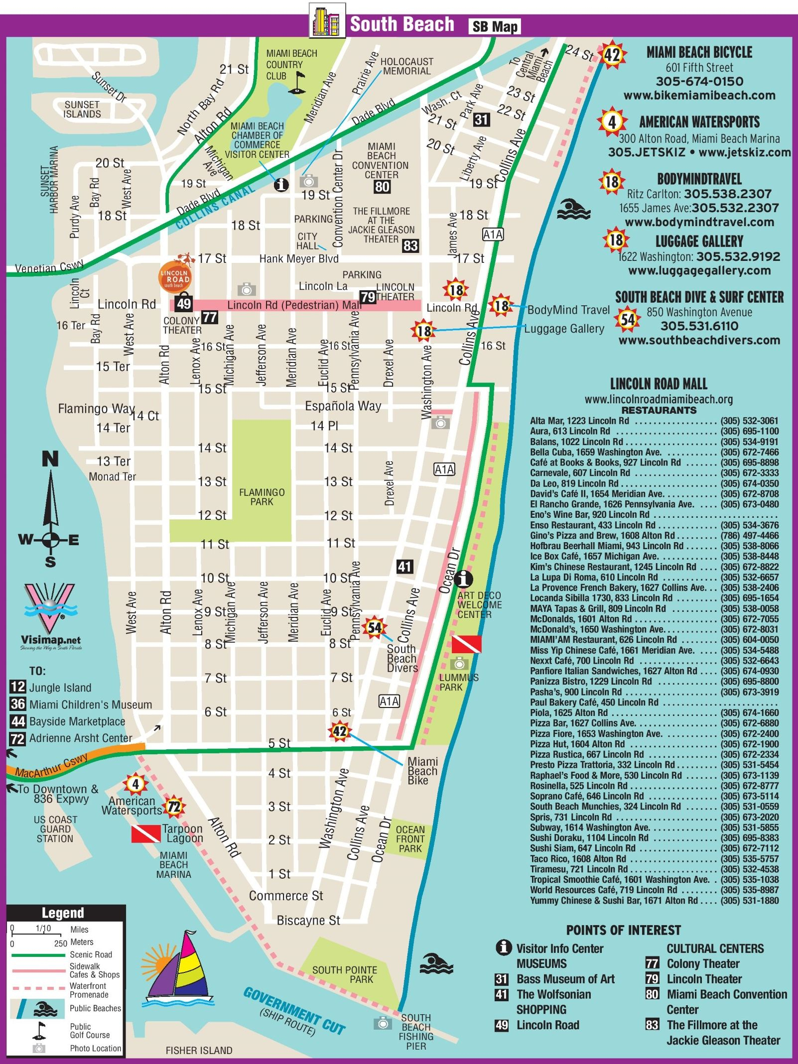 South Beach Restaurant And Sightseeing Map | Miami | Miami Beach - Map Of Miami Beach Florida Hotels