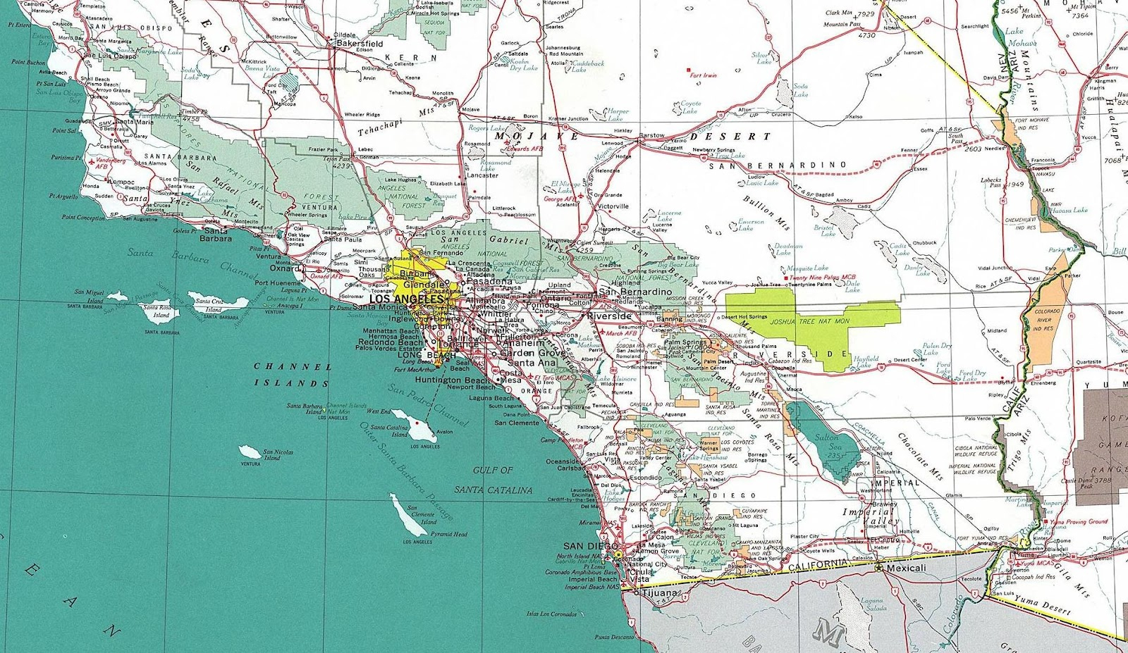 South California Map Large Map With Southern California County Map - Large Map Of Southern California
