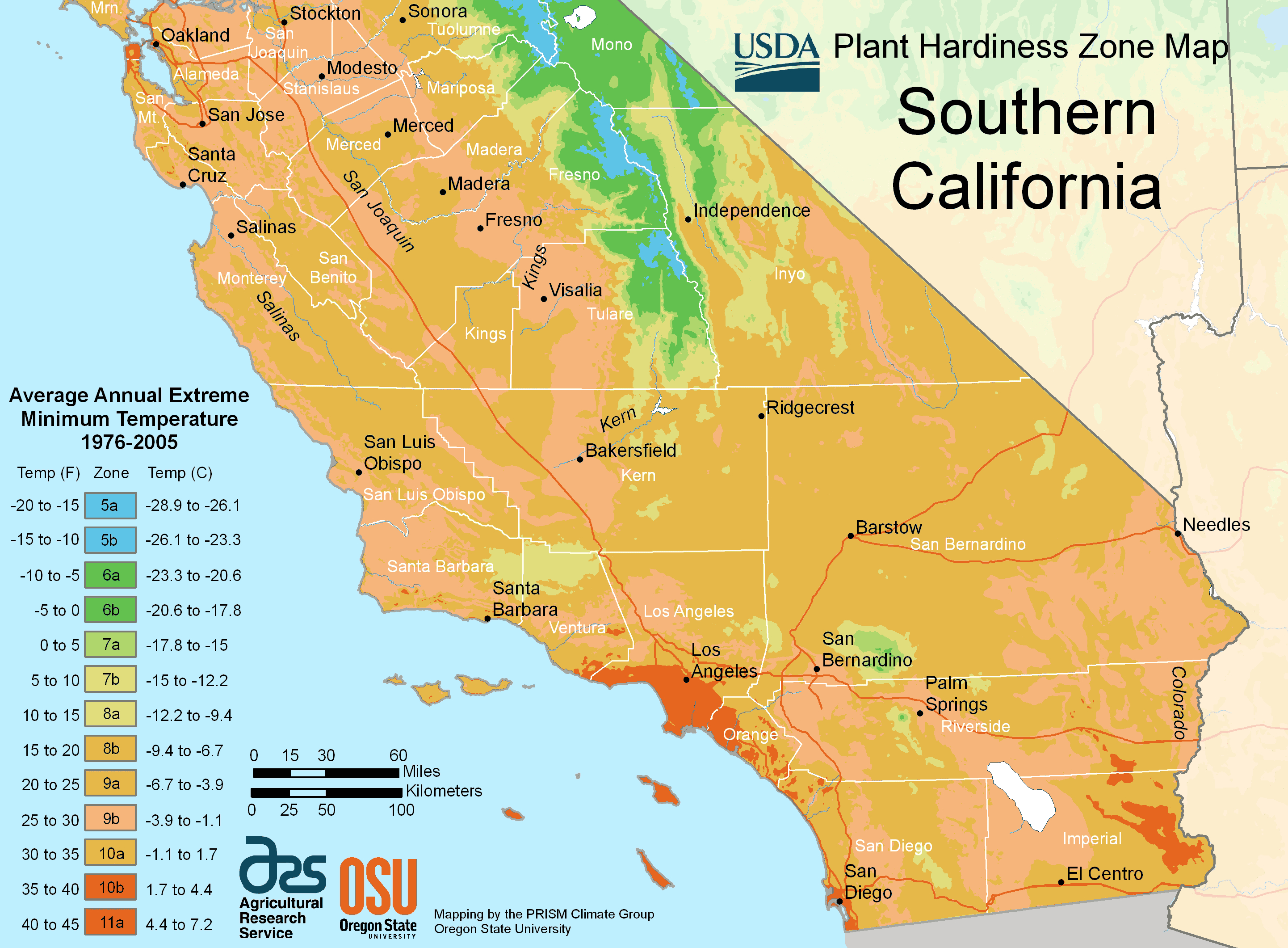 South California Plant Hardiness Zone Map • Mapsof - Usda Hardiness Zone Map California