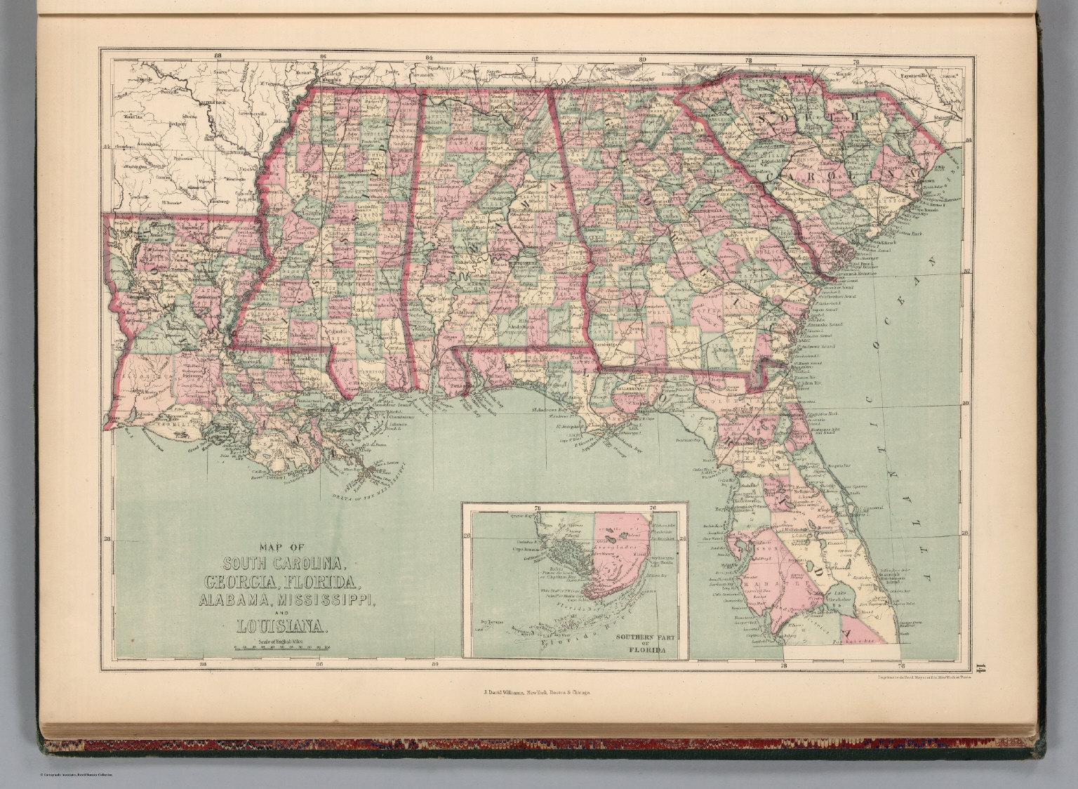 South Carolina, Georgia, Florida, Alabama, Mississippi, And - Florida Louisiana Map
