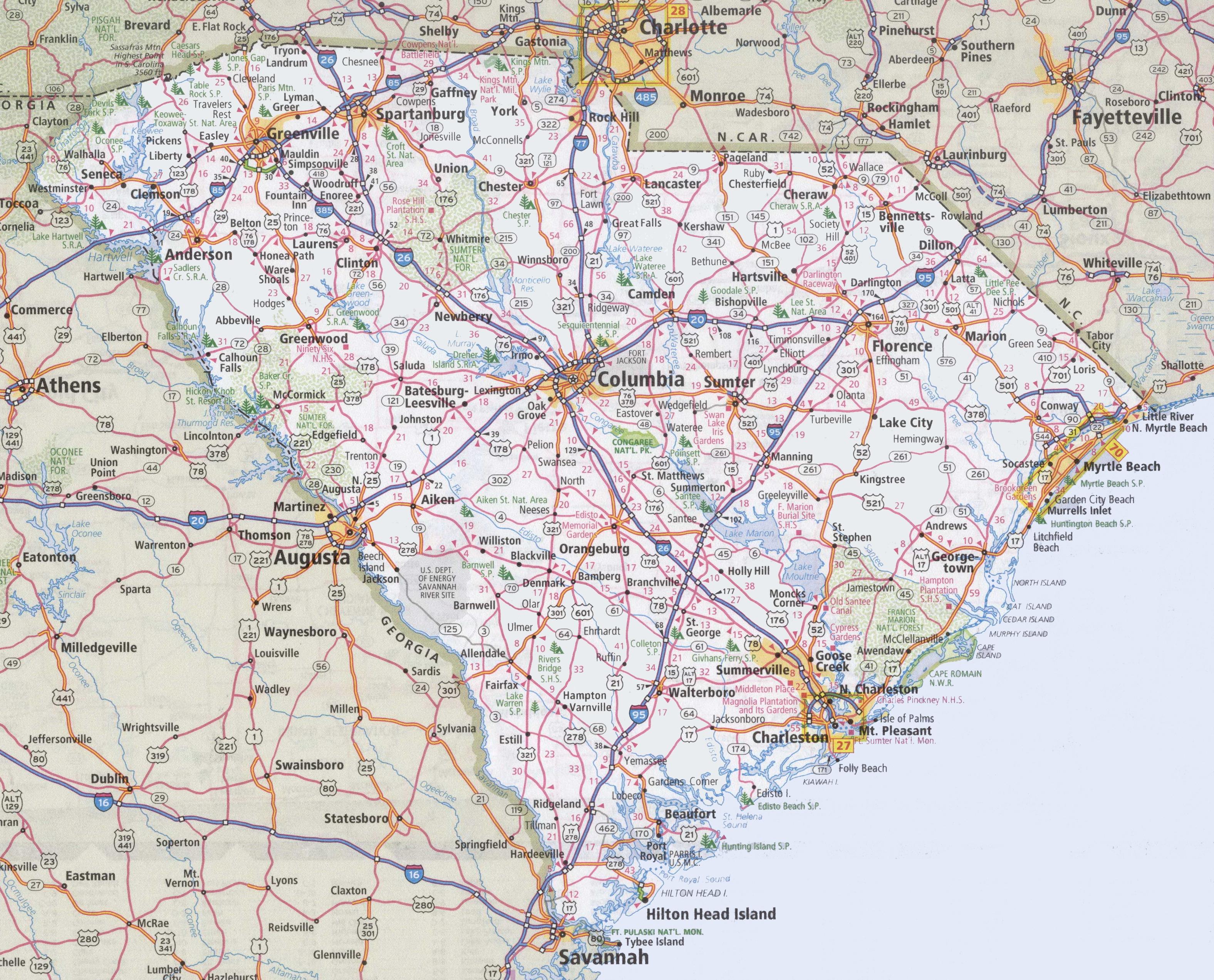 South Carolina Road Map - Printable Map Of North Carolina