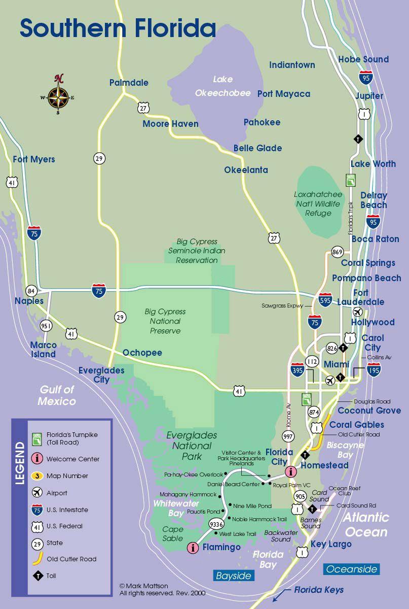 South Florida Map | Florida | Floride, Voyage - Map Of South Florida Beaches