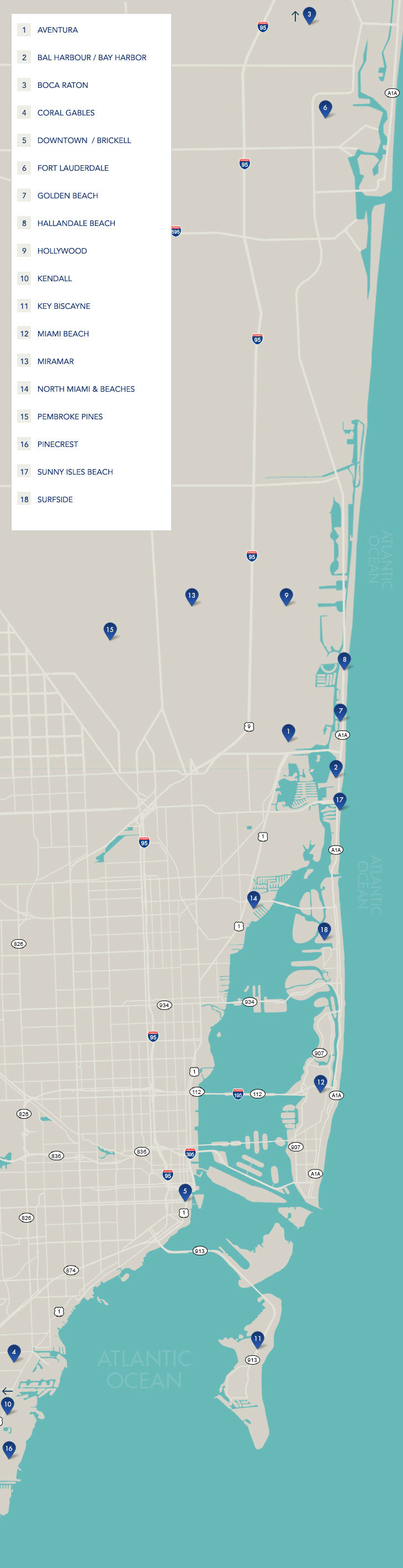 South Florida Neighborhoods | Map Of South Florida - South Beach Florida Map