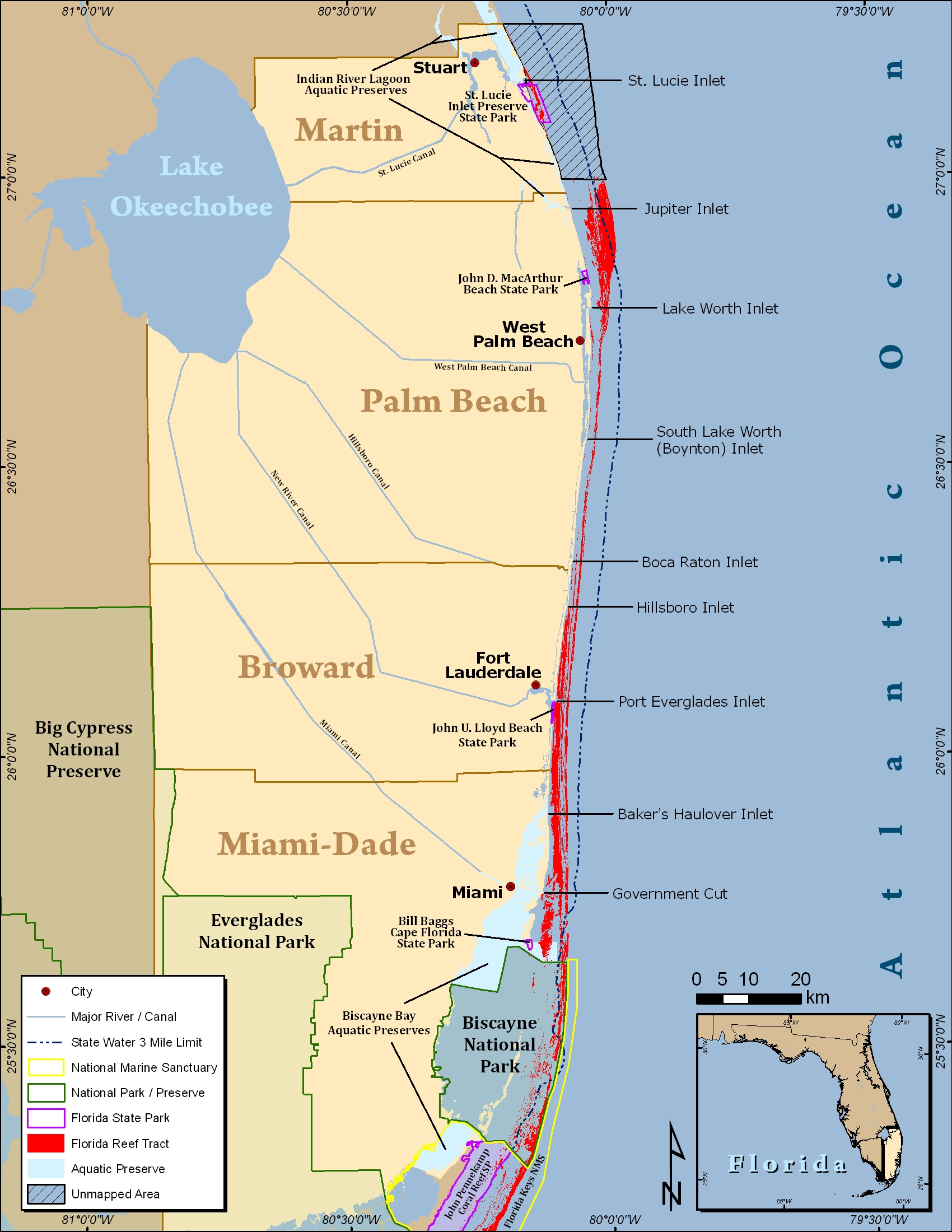 South Florida Reef Tract Map - Gold Coast Scuba Divers (954) 616 - Coral Reefs In Florida Map