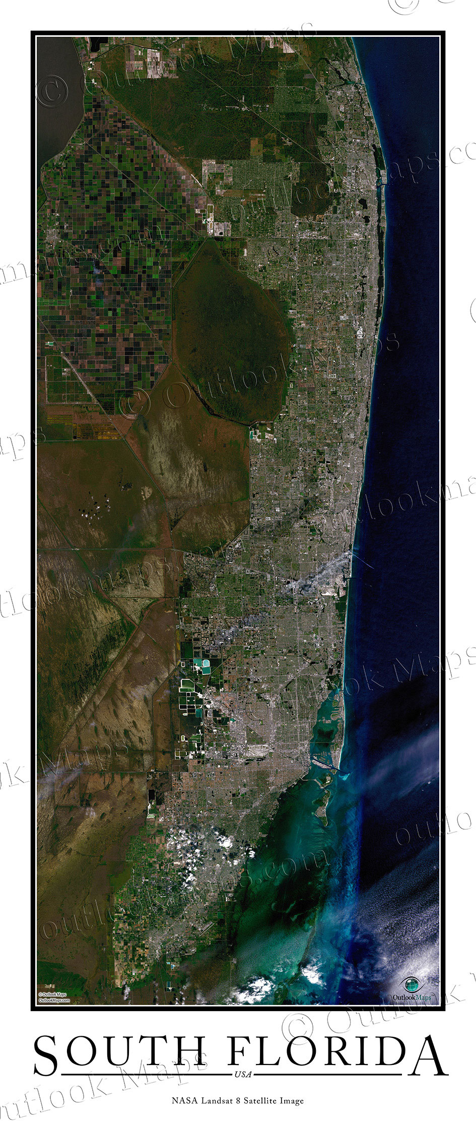 South Florida Satellite Map Print | Aerial Image Poster - Satellite Map Of Florida