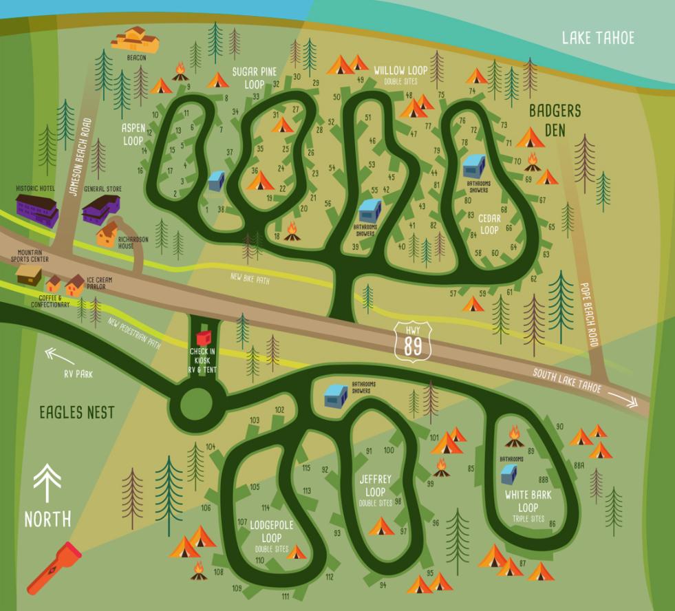 South Lake Tahoe Campgrounds At Camp Richardson Resort & Marina - California Tent Camping Map