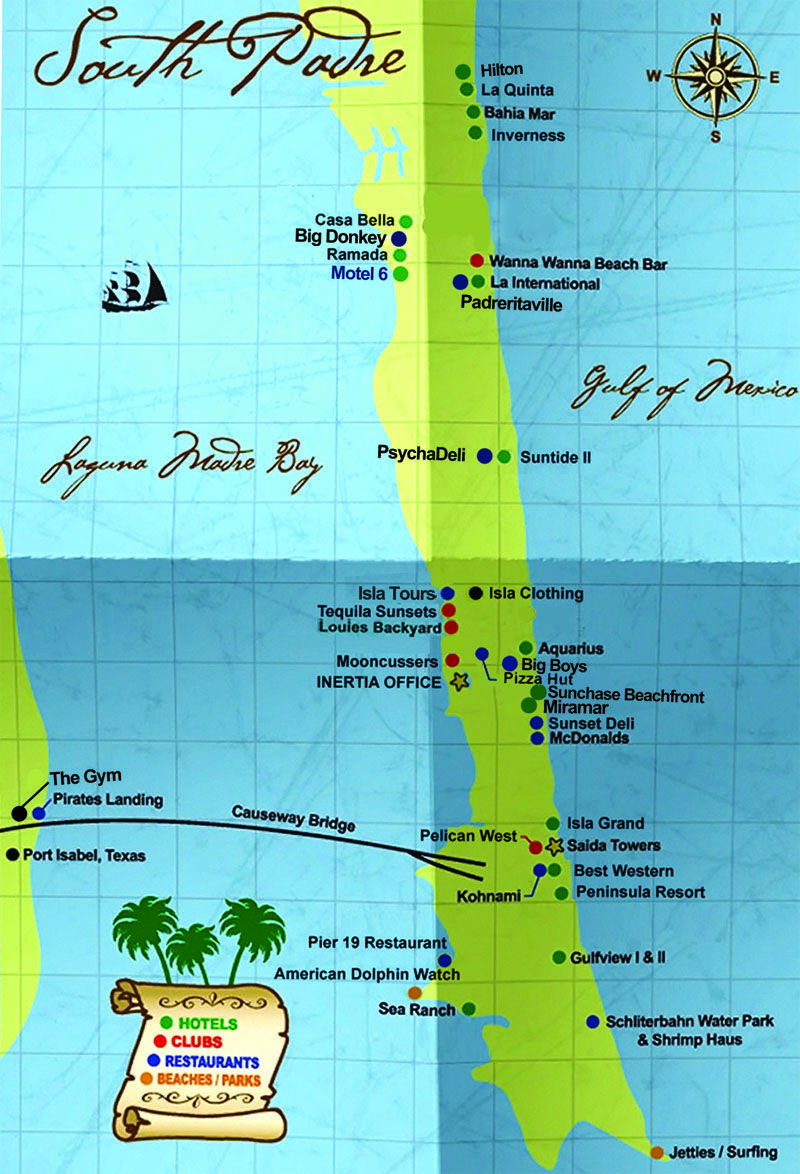 South Padre Island Map | South Padre Island Hotels South Padre - Texas Padre Island Map