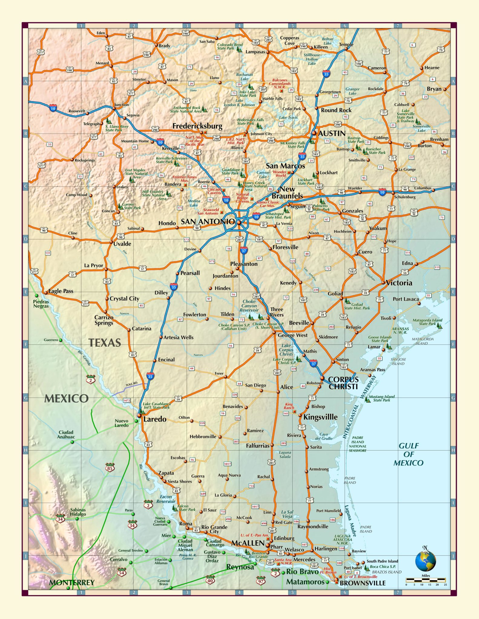 South Texas Wall Map - The Map Shop - Map Of South Texas