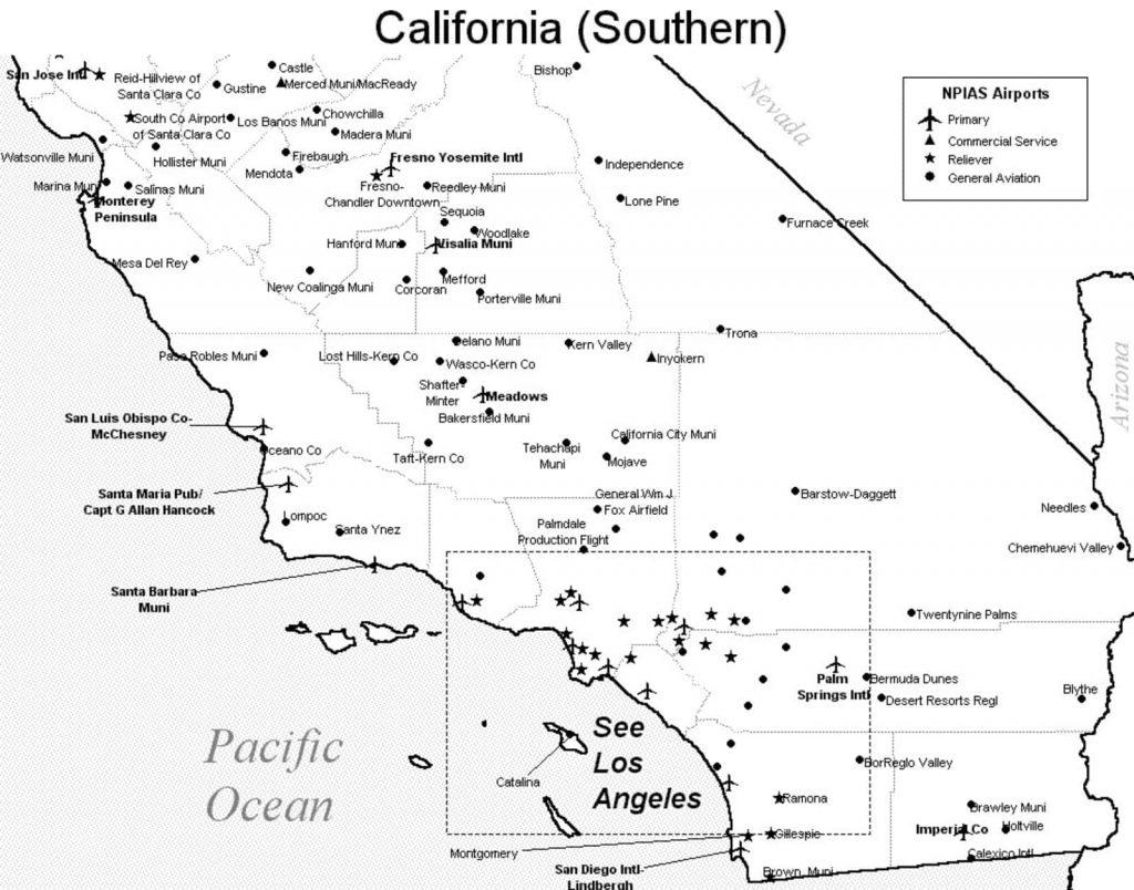 Southern California Airports Map - Klipy - Southern California Airports Map