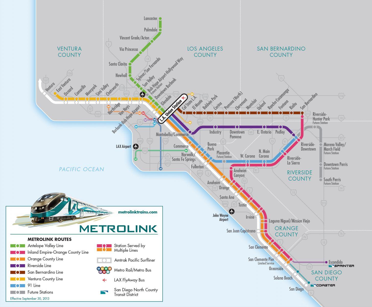 Southern California Amtrak Map - Klipy - Southern California Train Map