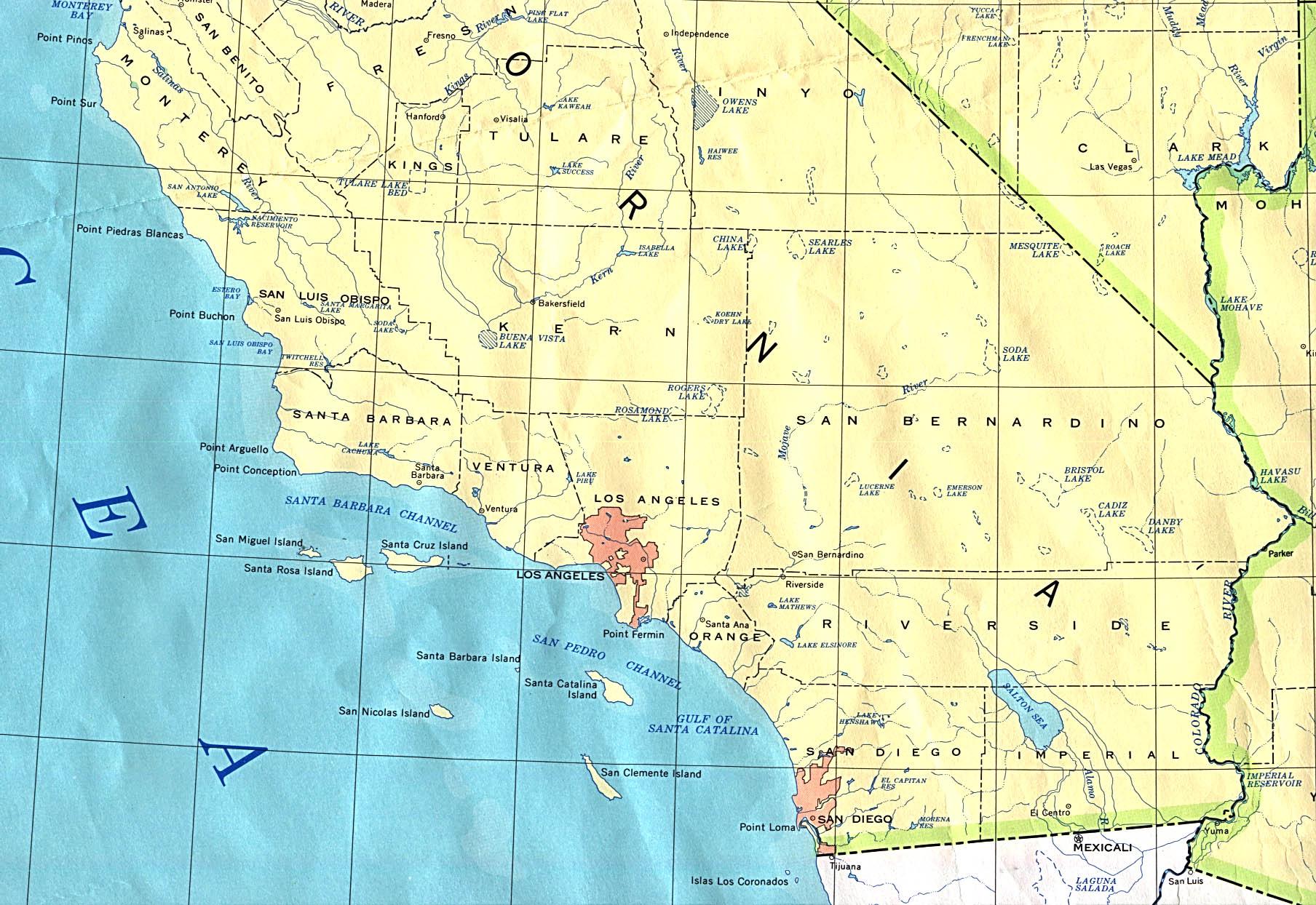Southern California Base Map - California Atlas Map