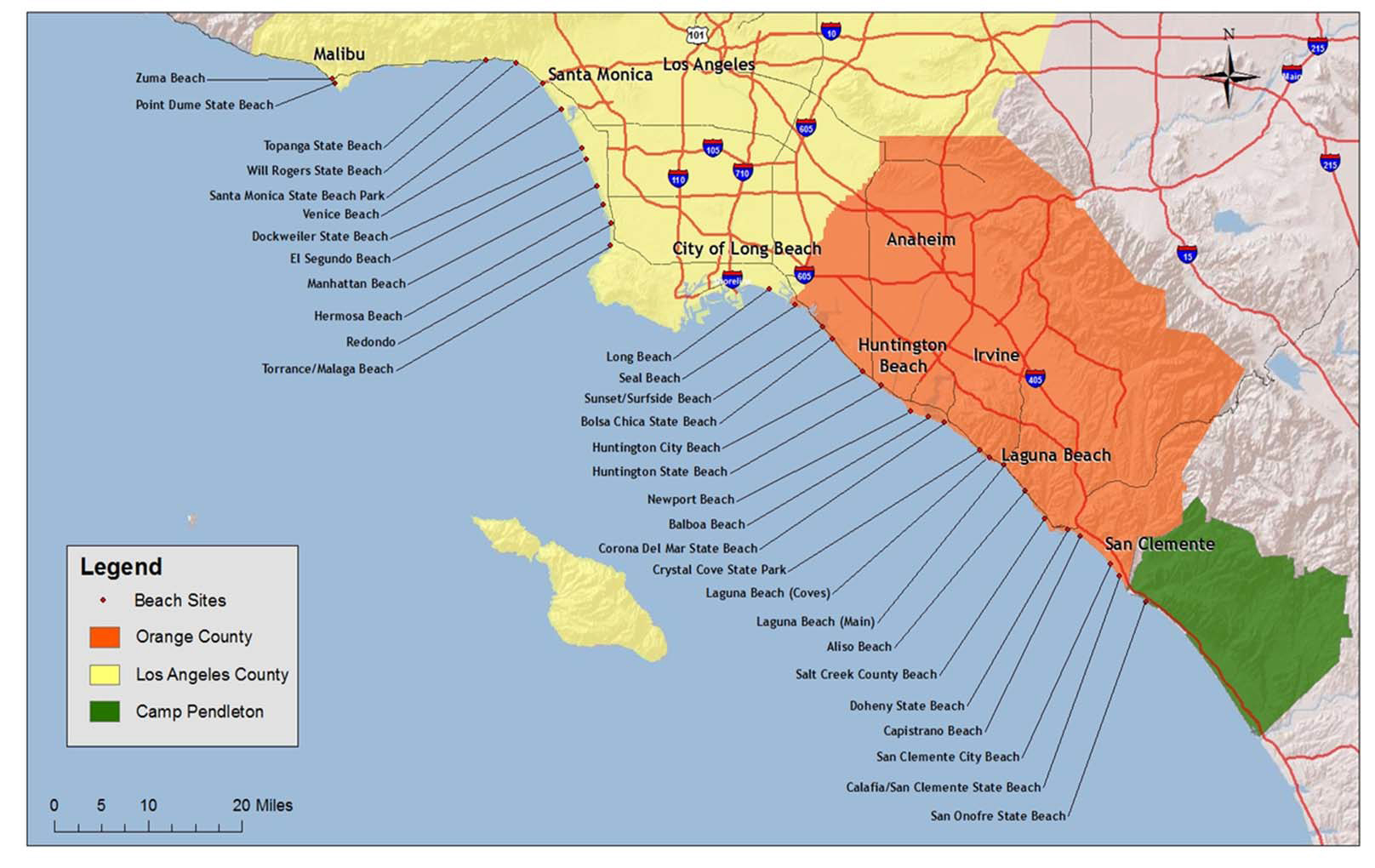Southern California Coastline Map - Klipy - Map Of Southern California Beach Cities