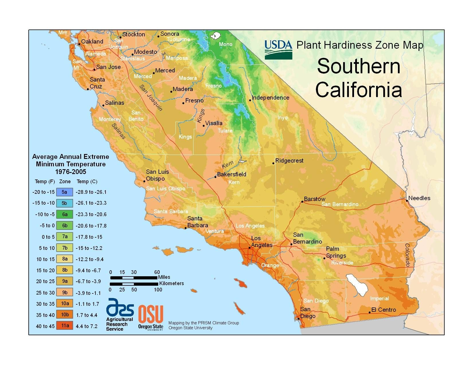 Southern California Hardiness Zone Map I Guess I'm 10B Or Maybe 10A - Growing Zone Map California