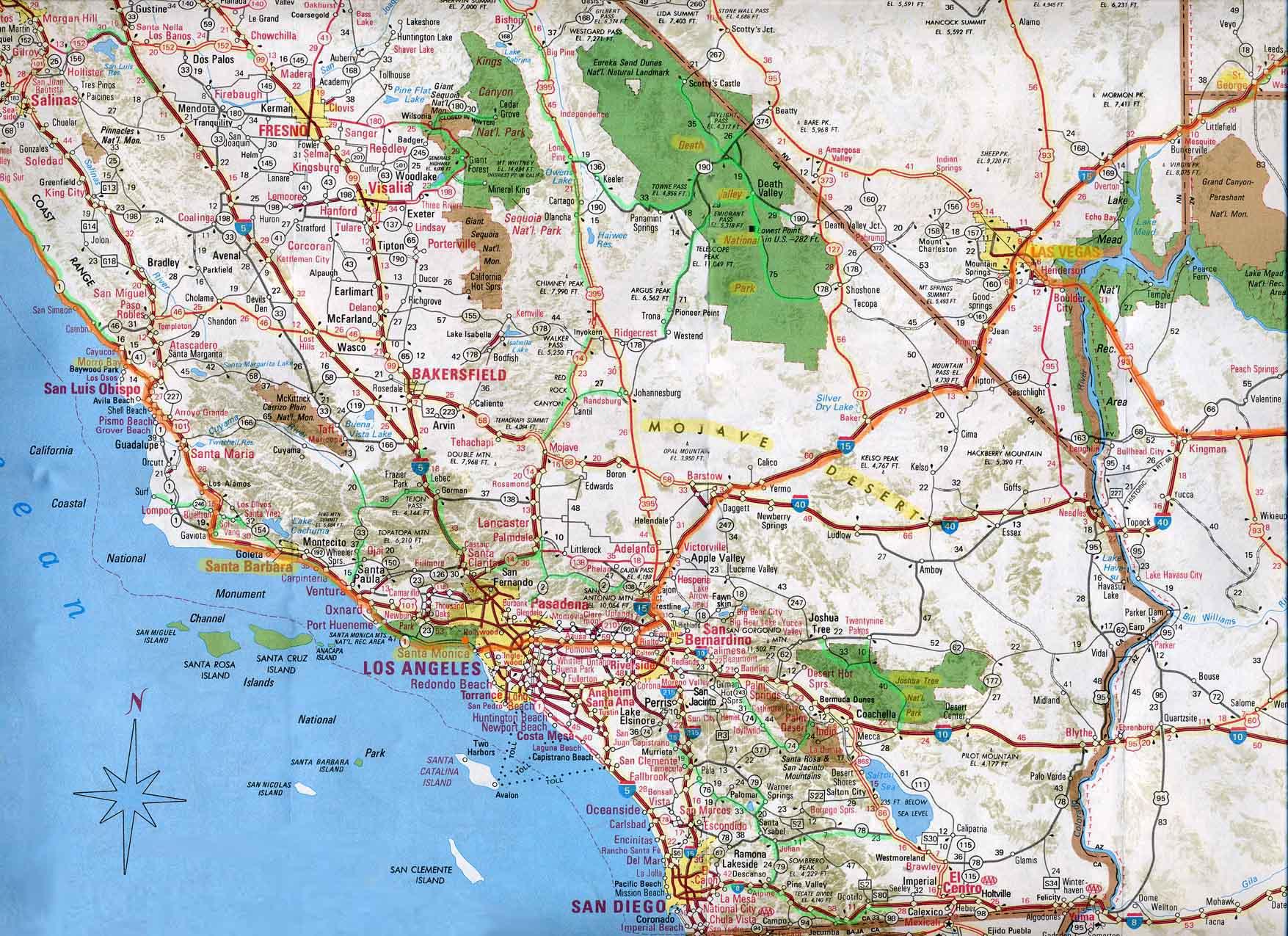 Southern California Map From Kolovrat 5 - Ameliabd - Map Of Southeastern California