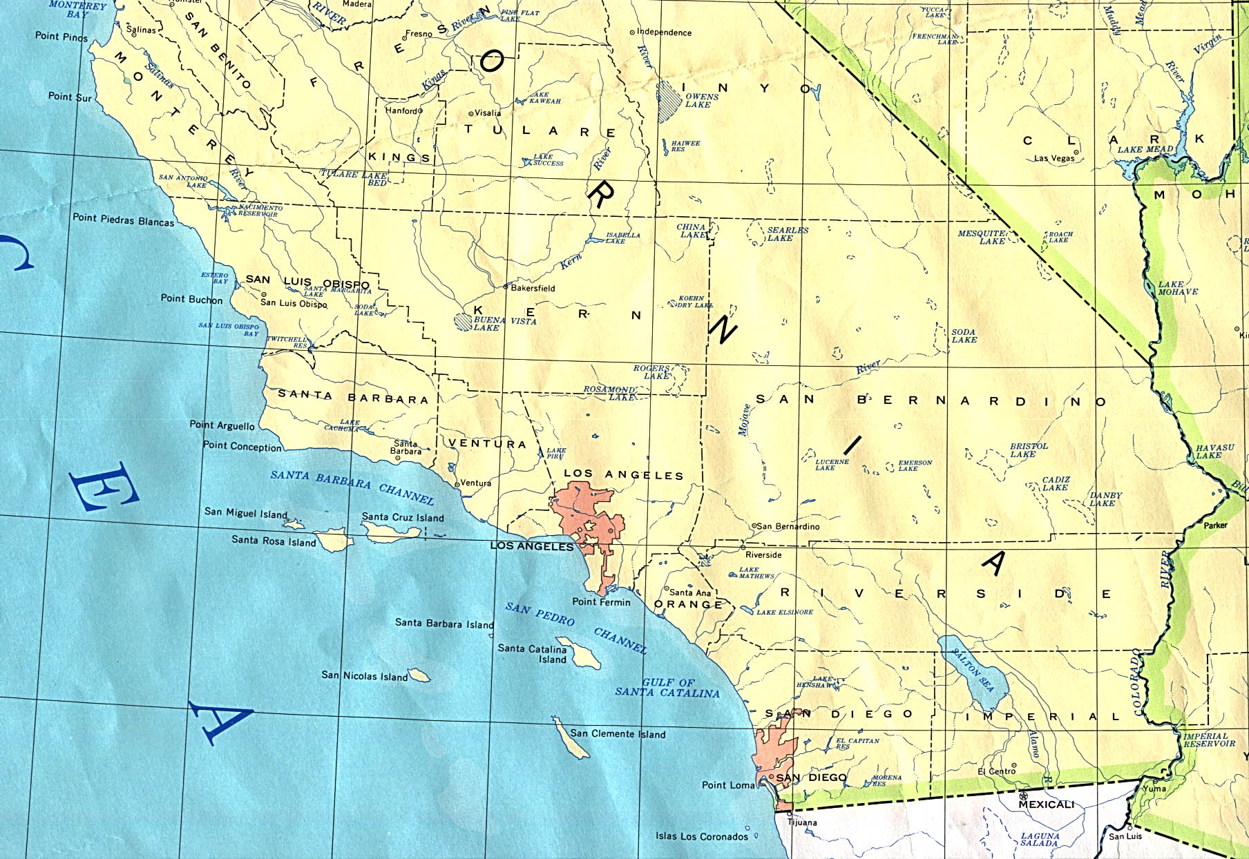 Southern California Rivers Map - Klipy - Southern California Rivers Map
