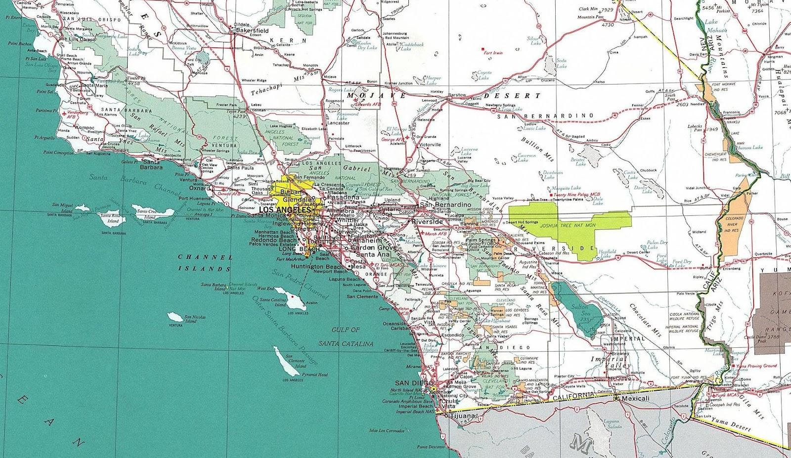 Southern California Road Map California River Map Highway Map - Road Map Of Southern California