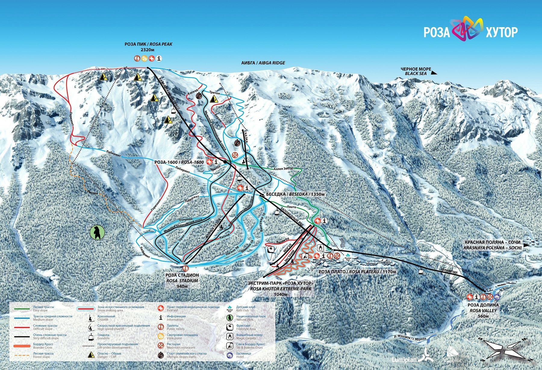 Southern California Ski Resorts Map Printable Rosa Khutor Alpine - Southern California Ski Resorts Map