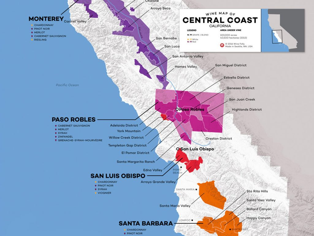 Southern California Wine Country Map - Klipy - Central California Wine Country Map