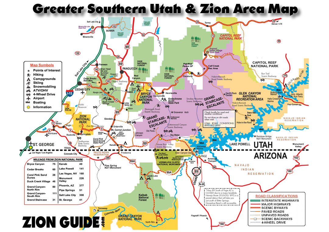 Southern Utah & Zion Area Map | Utah State & National Parks Guide - Map Of California National Parks And Monuments