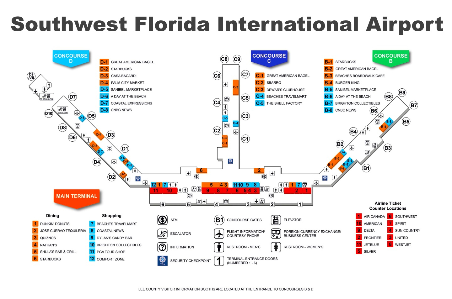 Southwest Florida International Airport Map - Florida Airports Map