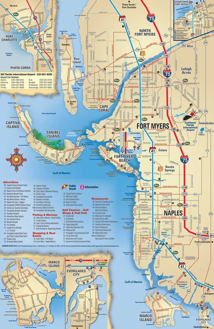 Southwest Florida Map, Attractions And Things To Do, Coupons - Florida Attractions Map