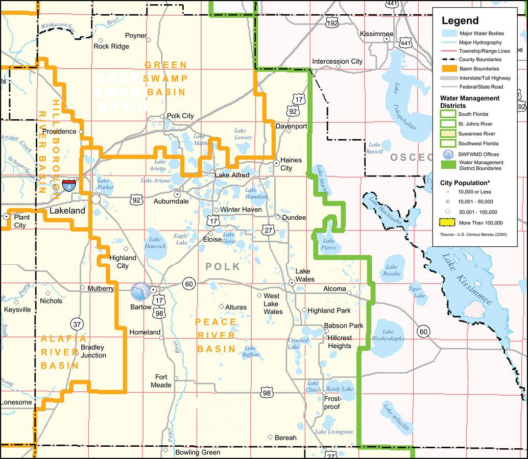 Southwest Florida Water Management District- Polk County, September - Bowling Green Florida Map