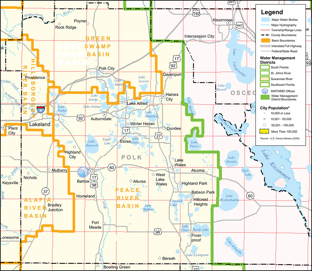 Southwest Florida Water Management District- Polk County, September - Lake Alfred Florida Map