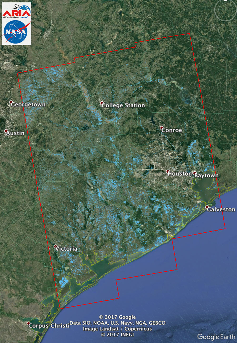 Space Images | New Nasa Satellite Flood Map Of Southeastern Texas - Google Earth Texas Map